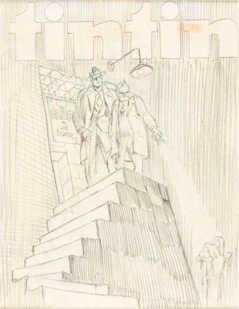 Tintin Magazine The Spirit Cover Preliminary by Will Eisner.  Source.