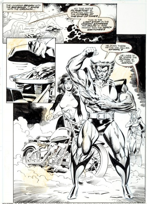 Wolverine issue 53 page 1 by Marc Silvestri and Dan Green.  Source.