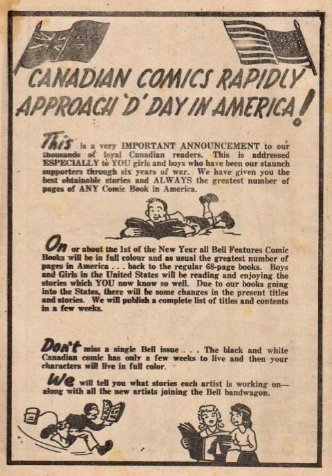 Cy Bell's announcement on pg. 8 of Dime Comics 27