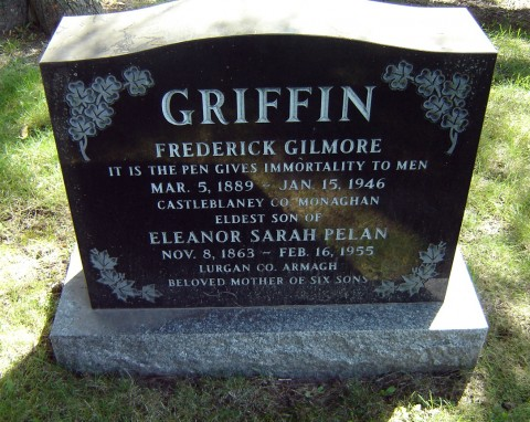 Griffin's tombstone in Mt. Pleasant Cemetery