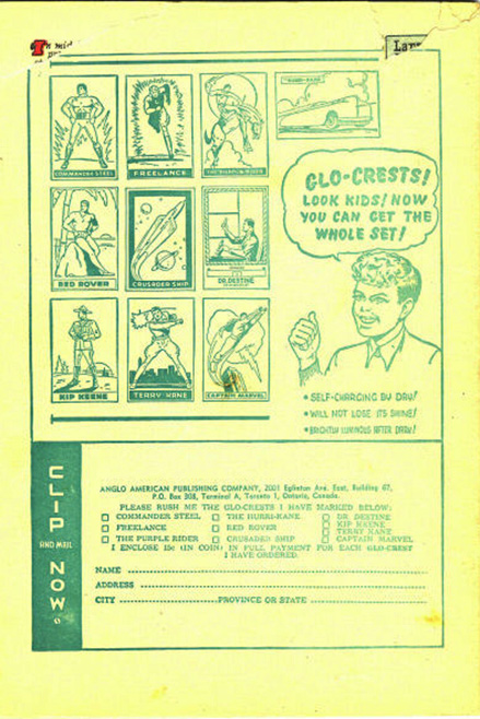 Back cover of Anglo-American's  Larry Doby Comics No. 3 from 1950