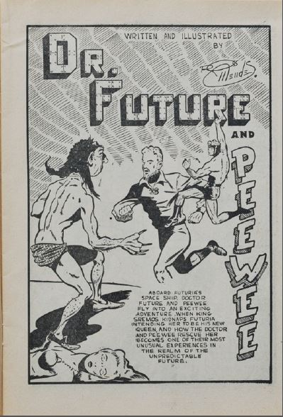 Ross Mendes' Dr. Future and Pee Wee splash from Lightning Comics 12