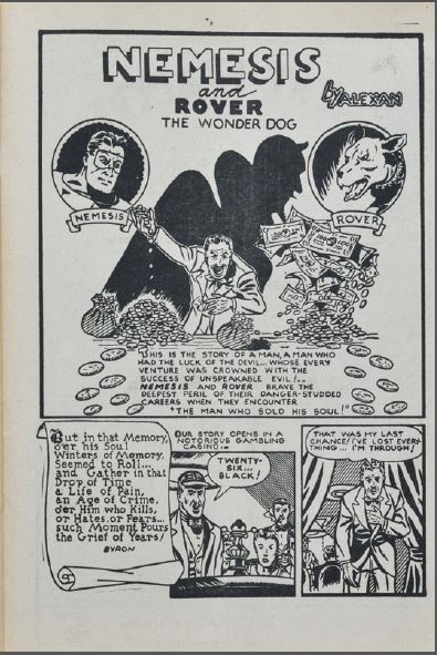 Aram Alexanian's Nemesis and Rover the Wonder Dog splash from Lightning Comics 12