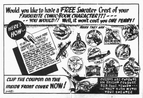 Centrespread ad in Triumph Comics No. 13 for the sweater crests