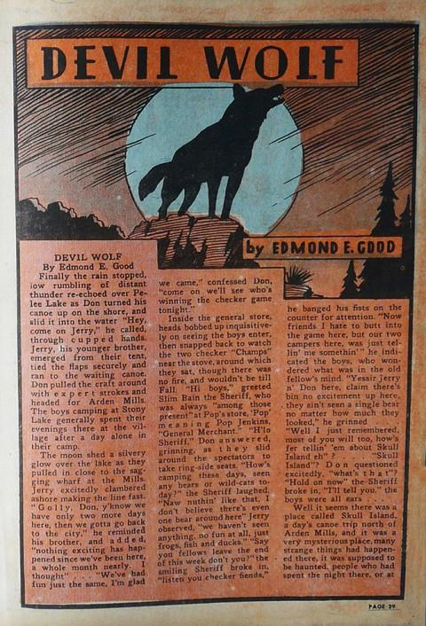 Edmond Good's first text story from Wow Comics No. 5