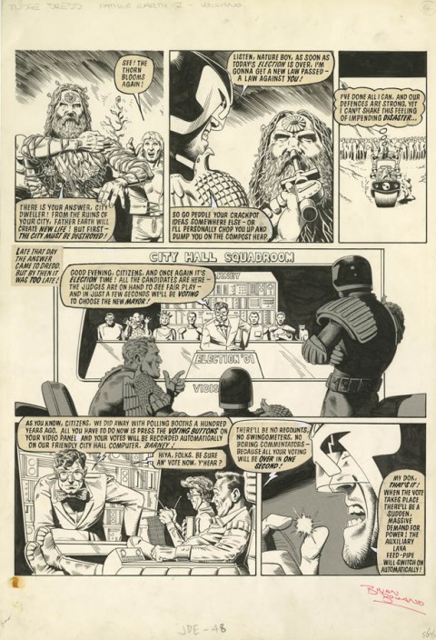 2000AD prog 123 page 6 by Brian Bolland.  Source.