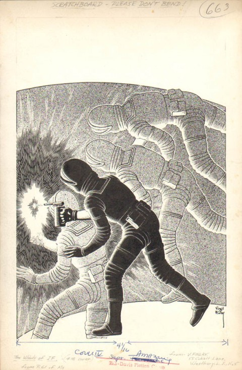Amazing Stories September 1963 back cover by Virgil Finlay.  Source.