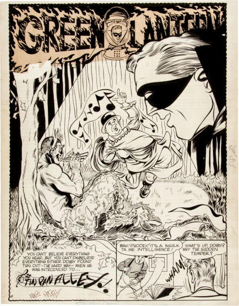 Green Lantern unpublished splash by Martin Nodell.  Source.