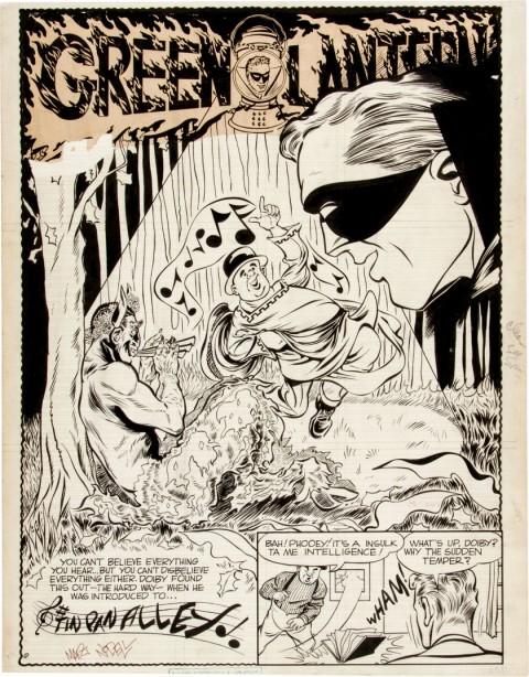 Green Lantern unpublished splash by Martin Nodell.  Source.