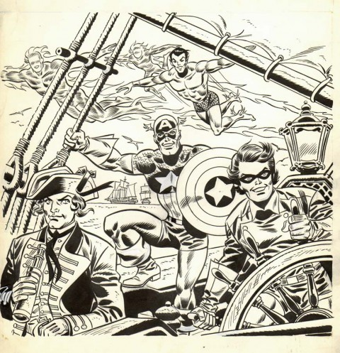 Invaders Bicentennial Calendar plate by Frank Robbins.  Source.