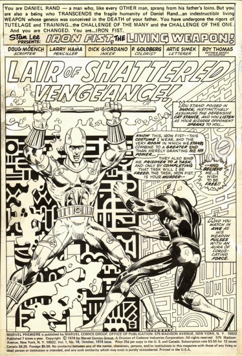 Marvel Premiere issue 18 splash by Larry Hama and Dick Giordano. Source.