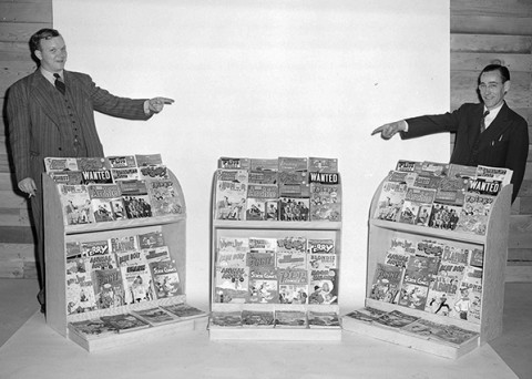 Stephen Lipson's link to pictures of old newstands inspired me to post this Vancouver sampling of newsstand comics from Nov. 1947. These are all American copies (Detective 129, Action 114, etc.).