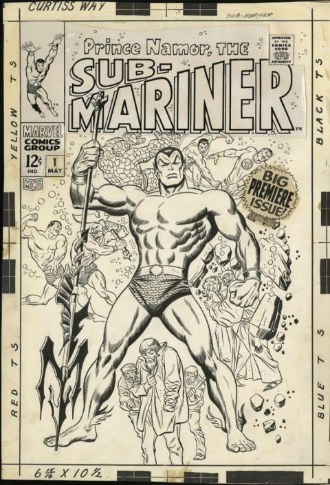 Prince Namor, The Sub-Mariner issue 1 cover by John Buscema and Sol Brodsky.  Source.