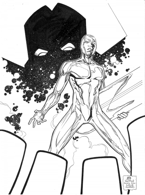 Silver Surfer and Galactus by Jim Cheung and Mark Morales.  Source.