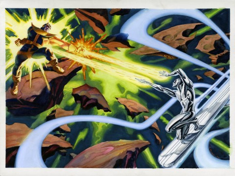 Thanos versus Silver Surfer by Steve Rude