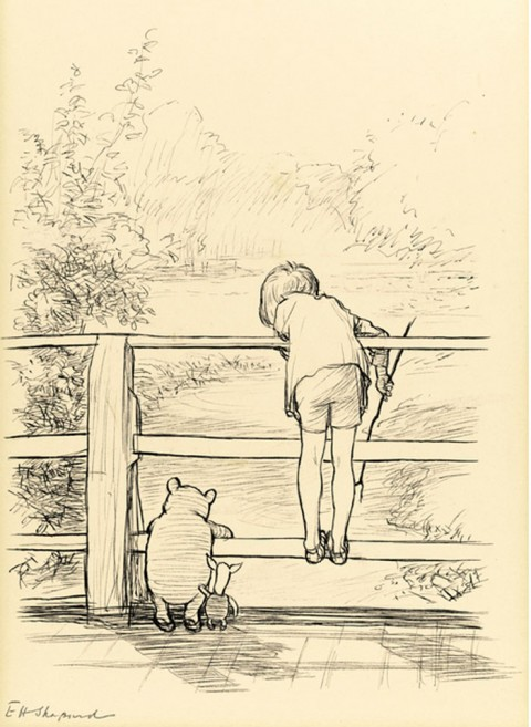 The House at Pooh Corner frontispiece by E.H. Shepard.  Source.