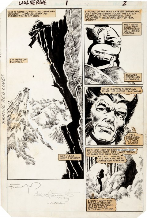 Wolverine issue 1 page 2 by Frank Miller and Joe Rubinstein.  Source.