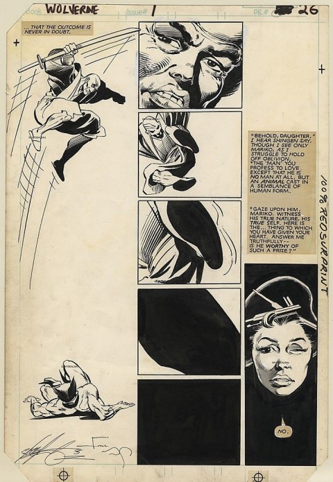 Wolverine issue 1 page 26 by Frank Miller and Joe Rubinstein.  Source.