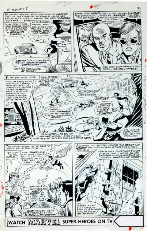 X-Men issue 25 page 2 by Werner Roth and Dick Ayers.  Source.