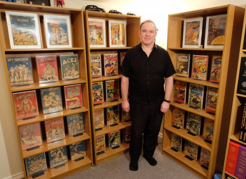 Stephen Lipson in one corner of his collection