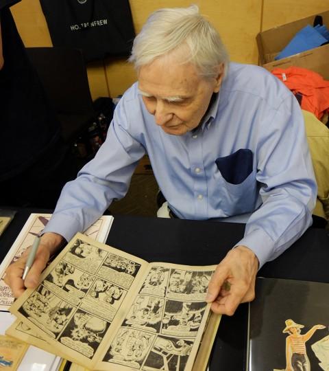 Jack Tremblay reading his Crash Carson story from Wow Comics 10