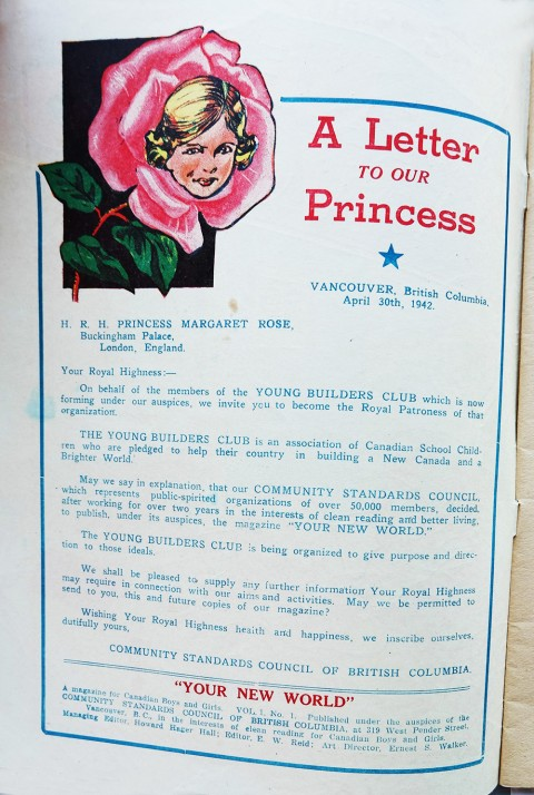 The letter to Princess Margaret on the inside front cover.