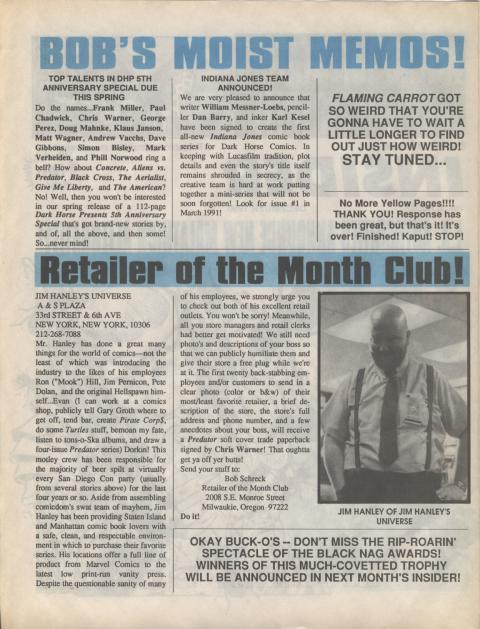 Dark Horse Insider December 1990 page 2