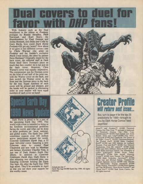 Dark Horse Insider January 1990 page 2