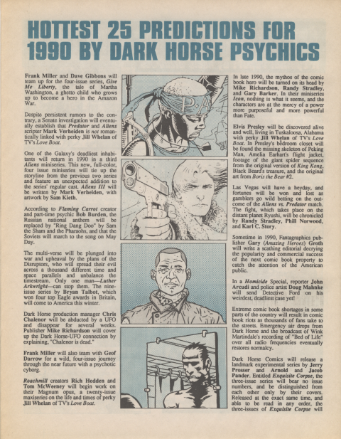 Dark Horse Insider January 1990 page 4