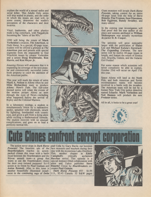 Dark Horse Insider January 1990 page 5