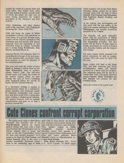Dark Horse Insider January 1990 page 5