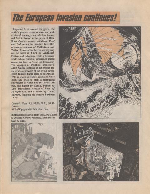 Dark Horse Insider September 1989 page 3