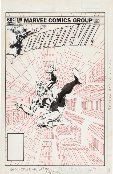 Daredevil issue 186 cover by Frank Miller and Klaus Janson.  Source.