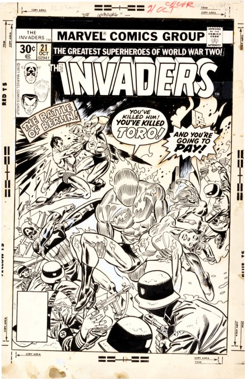 Invaders issue 21 cover by Gil Kane and Frank Giacoia.  Source.