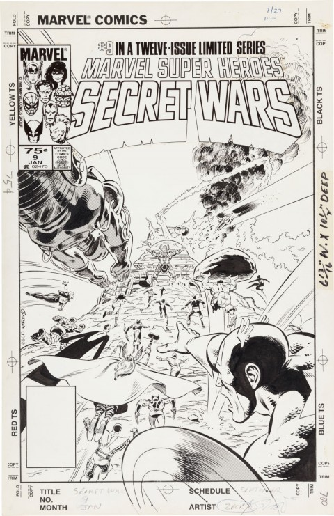 Marvel Super Heroes Secret Wars issue 9 cover by Mike Zeck and Bob McLeod.  Source.