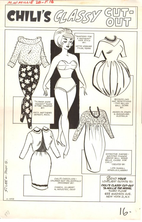 Modeling With Millie issue 28 pin-up by Stan Goldberg.  Source.
