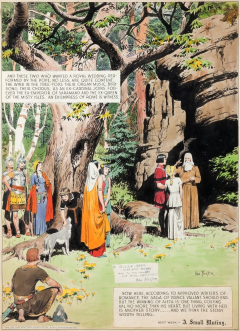 Prince Valiant Sunday 2-10-46 panel by Hal Foster.  Source.