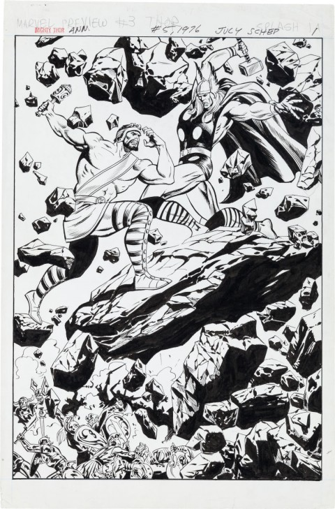 Thor Annual issue 5 splash by John Buscema.  Source.