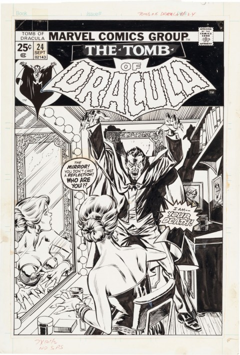 Tomb of Dracula issue 24 cover by Gil Kane and Tom Palmer.  Source.