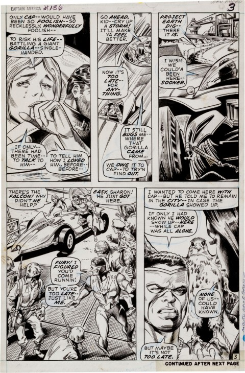 Captain America issue 136 page 3 by Gene Colan and Bill Everett.  Source.