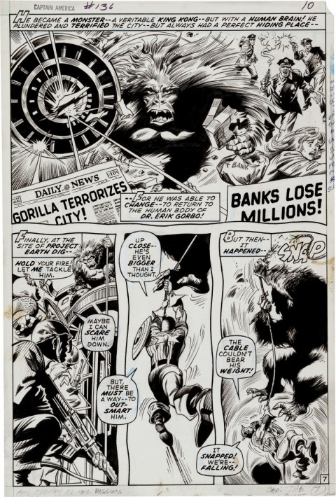 Captain America issue 136 page 7 by Gene Colan and Bill Everett.  Source.