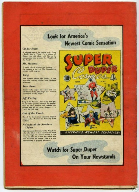 "Back cover of Dizzy Don No. 3 Showing Super Duper Comics No. 3. Notice the ""America's Newest Sensation"" logo on the bottom of the cover just as it is on the bottom of the Dizzy Don No. 3 cover."