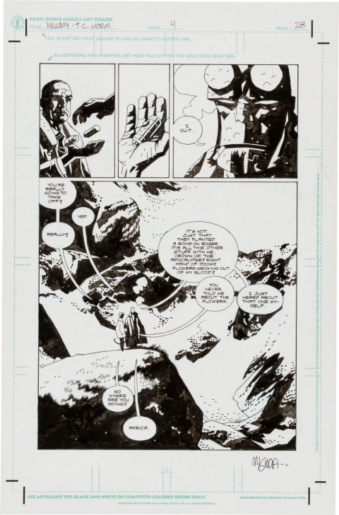 Hellboy: The Conqueror Worm issue 4 page 28 by Mike Mignola.  Source.