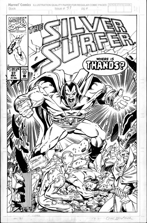 Silver Surfer issue 37 cover by Ron Lim.  Source.