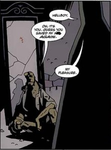 One of the many moments where Hellboy's ally saves his hide.