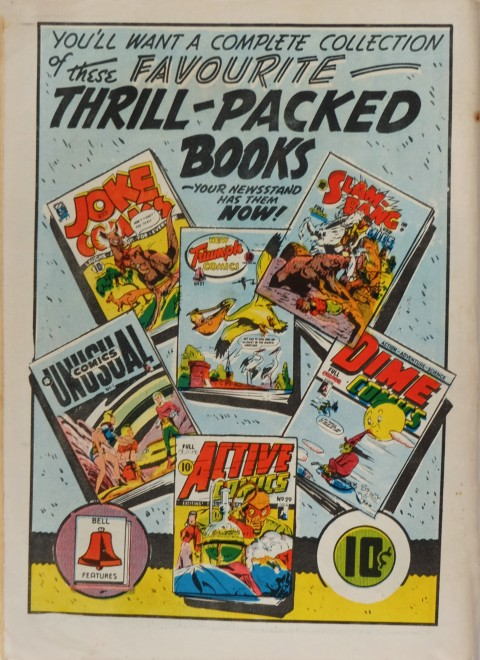 Back Cover for Red Hot Comics No. 3 which shows the books that Bell Features actually put out, all of them with American reprints inside.
