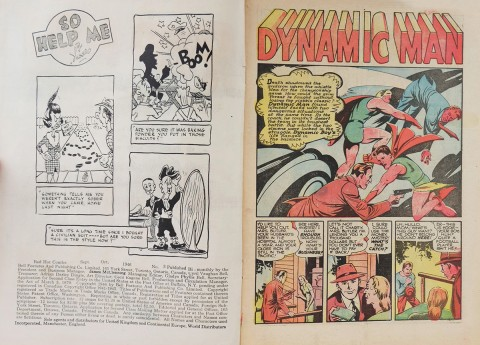 Inside front cover and first splash for Red Hot Comics No. 3 with a Bill Thomas art and the guts of Chesler's Dynamic Comics No. 18.