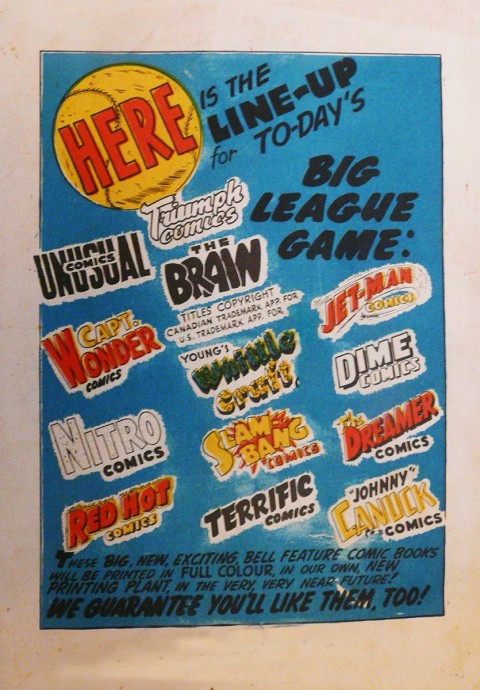 Back cover of Slam-Bang Comics No. 8. I wonder if there were ash-can prototypes for all these titles?