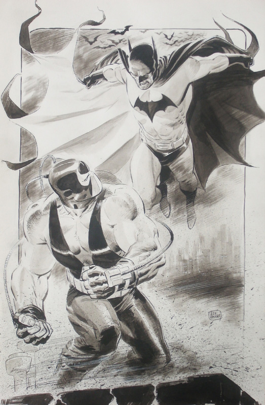 Batman versus Bane by Lee Weeks.  Source.
