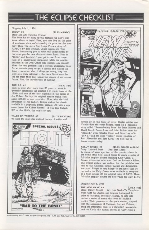 Eclipse Extra! No. 19 July 1986 Page 2